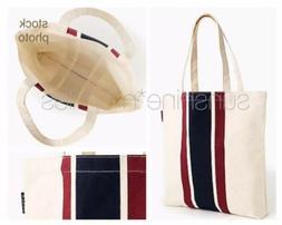 JCREW Natural Canvas Shopper Carryall Book Bag Tote ~ Burgun