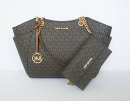 MICHAEL KORS JST CHAIN TOTE SHOULDER BAG + TRIFOLD WALLET SE