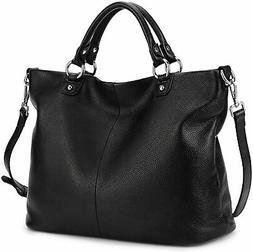 Kattee Women's Soft Genuine Leather Tote Bag, Top Satchel Pu