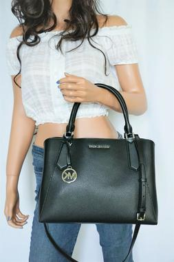 Michael Kors Kimberly  Black Pebbled Leather LARGE Satchel