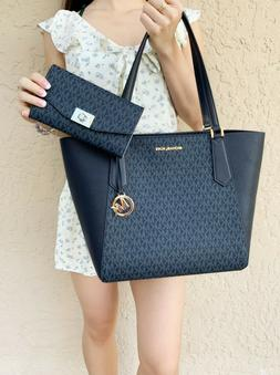 Michael Kors Kimberly Signature MK Tote Bag Admiral Navy + C