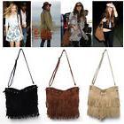 1X Women Tassel Fringe Bag Lady Shoulder Tote Bags Faux Sued