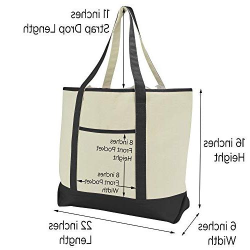 """22"""" Shopping Tote with Pocket Black"""