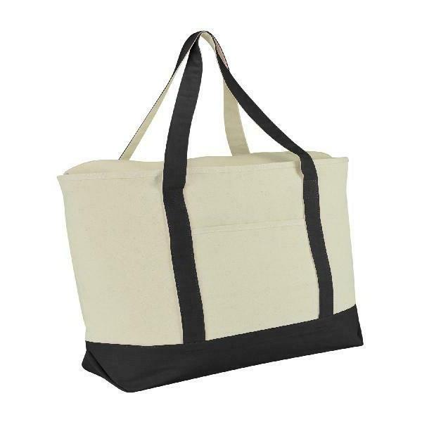 """Dalix 22"""" Extra Large Cotton Canvas Zippered Shopping Tote G"""