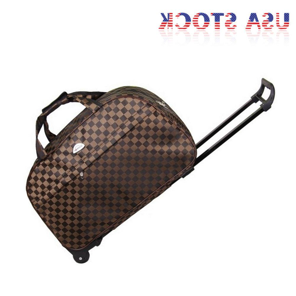 """24"""" Rolling Duffel Suitcase Carry On Trolley Travel USA"""