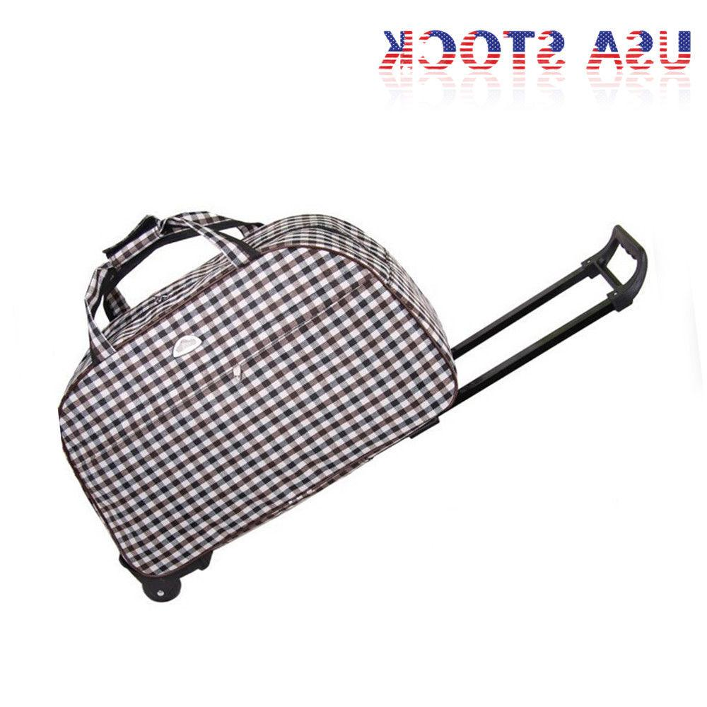 """24"""" Wheeled Duffel Suitcase Carry Trolley Bag Travel USA"""