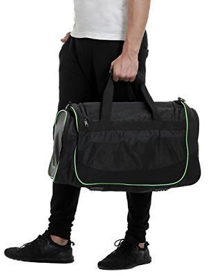MIER Gym Bag Sports Duffel Shoe Compartment Black
