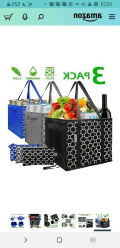 3 pack Reusable Grocery Bags Set Durable Heavy Duty Tote Bag
