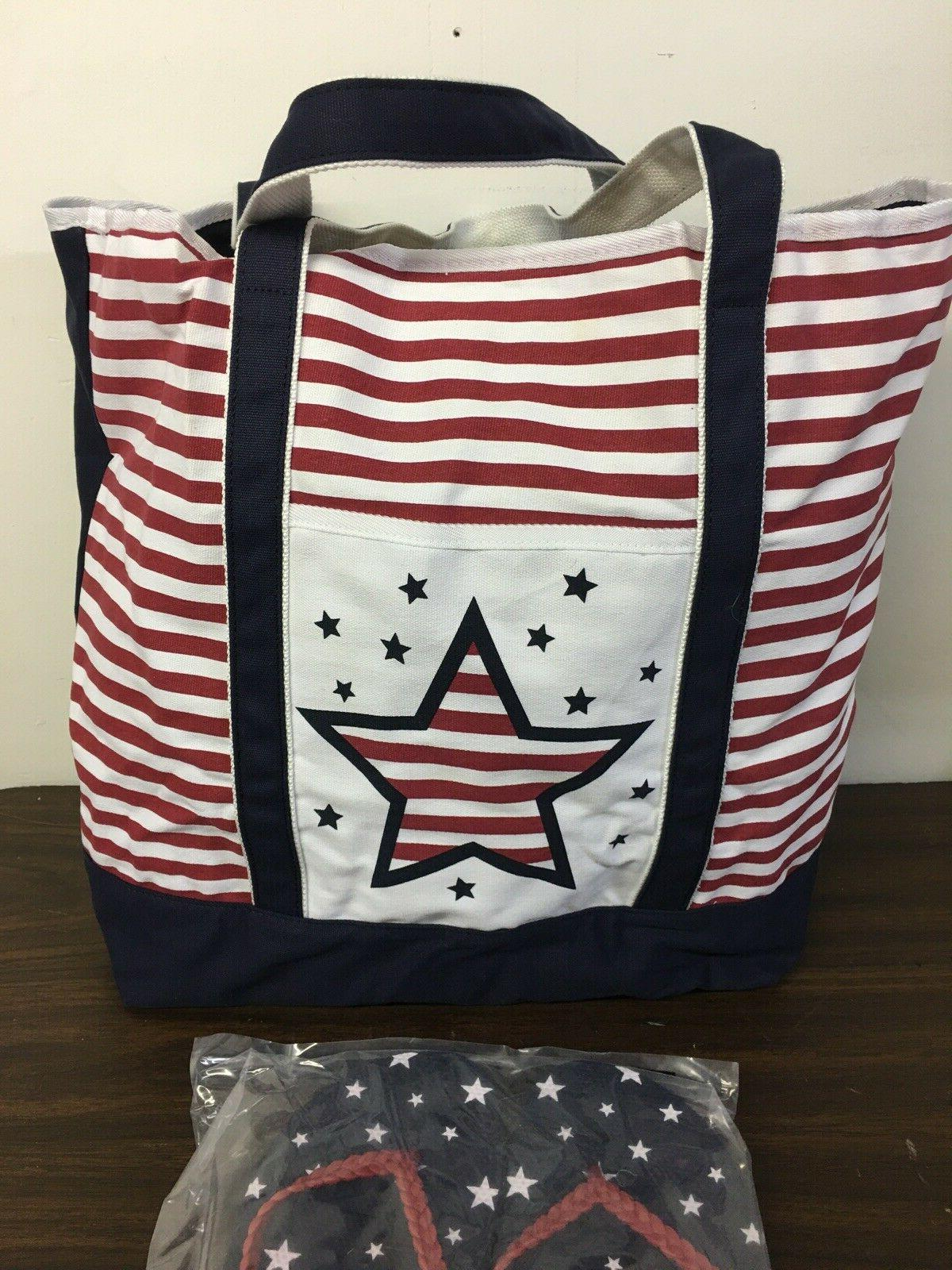 $49 Tote Bag & Sz Flip Flop Stars & Stripes Beach