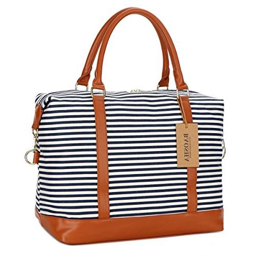 BAOSHA HB-28 Canvas Weekender Overnight Carry-on Shoulder Duffel Bag Leather Strap