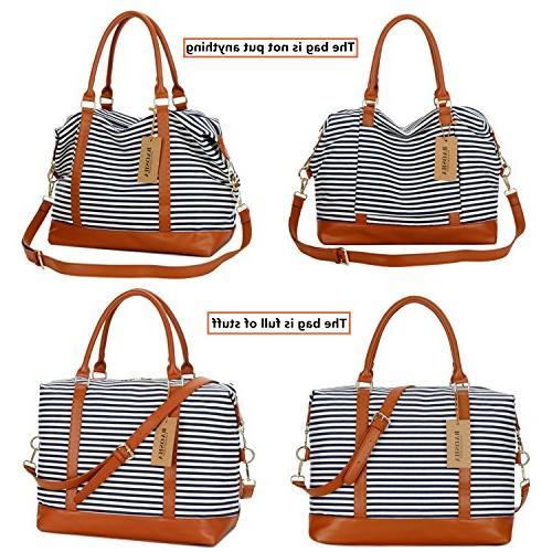BAOSHA Ladies Canvas Weekender Carry-on Shoulder Duffel Tote Bag PU Strap