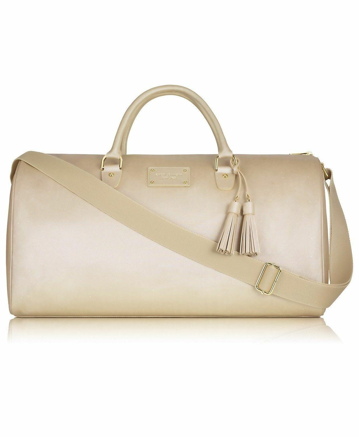 MICHAEL KORS gold metallic tote bag shoulder duffle canvas t