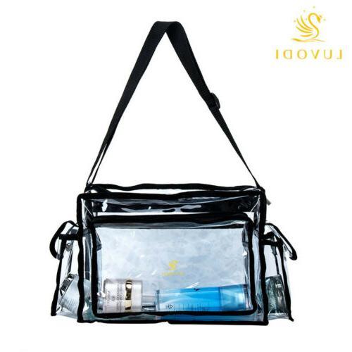 Clear Tote Bag Transparent Cosmetic Shoulder Handbag Black T