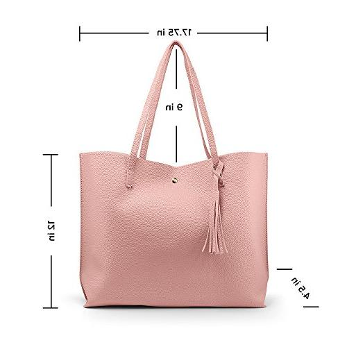 OCT17 Tote Bag Leather Handbags, Ladies Purses Satchel Messenger Bags - Pink