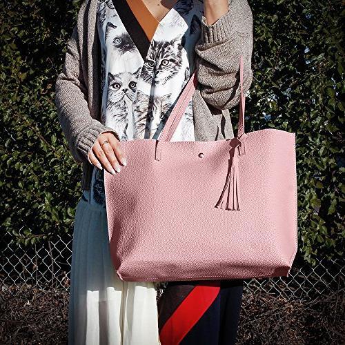 OCT17 Large Leather Shoulder Ladies Satchel Bags Pink