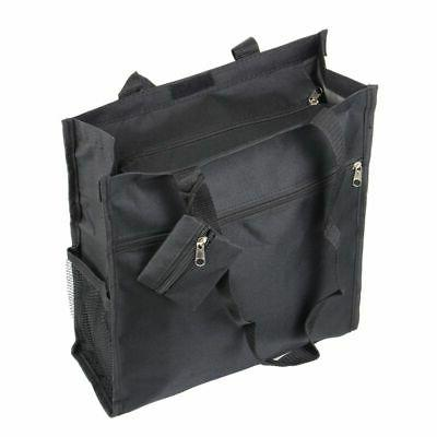All Purpose Travel Laundry Shopping Zipper Tote Bag Solid Black