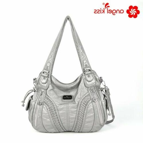 Angelkiss Brand Tote Satchel Handbags Shoulder Washed Leather