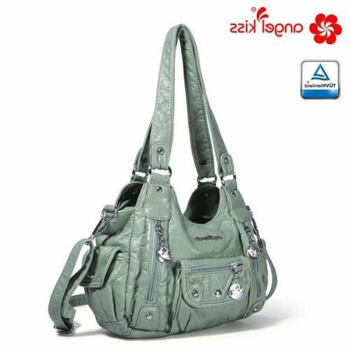 ANGELKISS Women PU Leather Vintage Handbag Tote