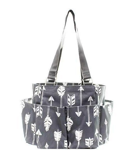 arrow gray small zippered canvas purse caddy