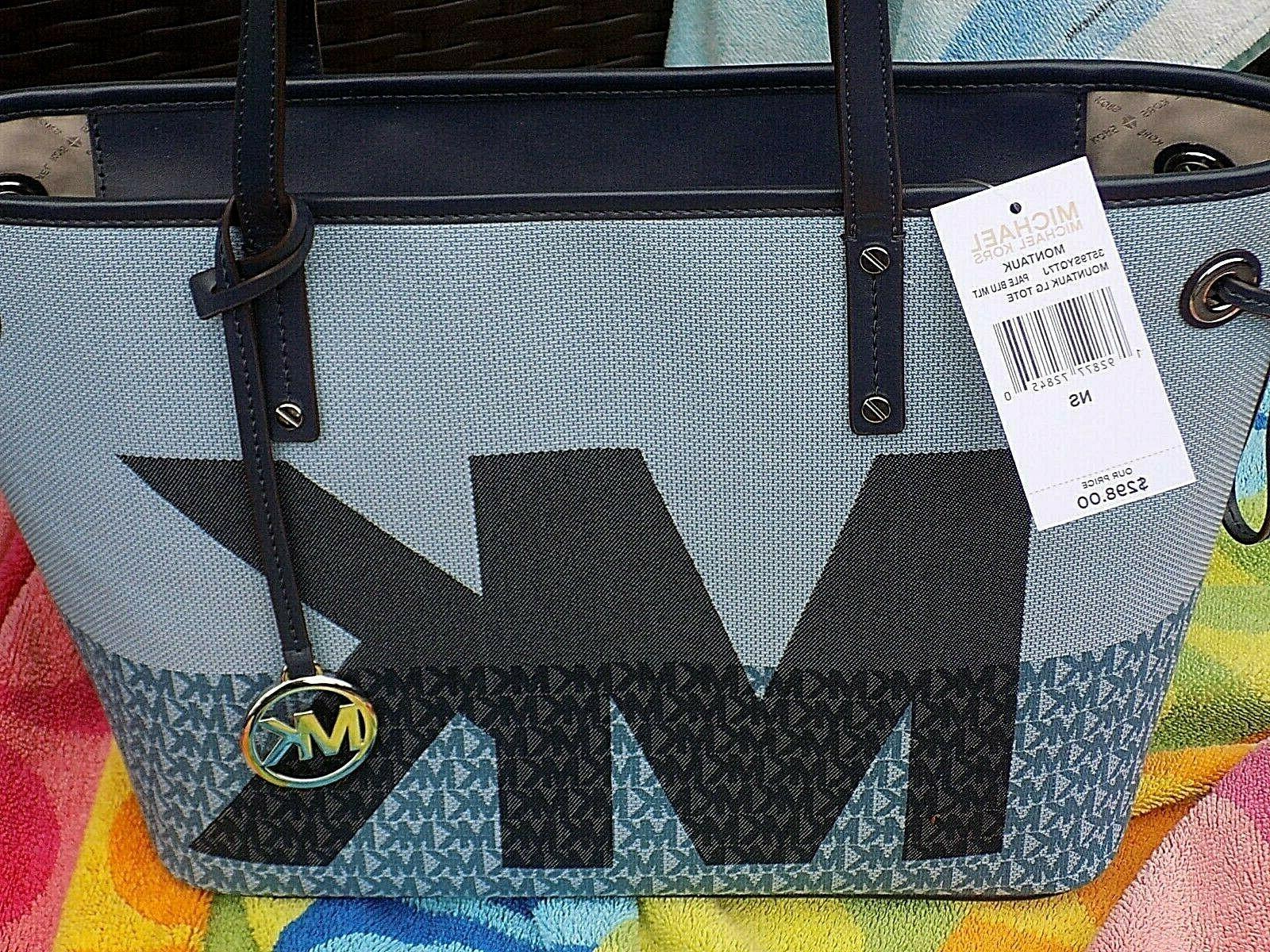 authentic montauk large blue signature tote bag