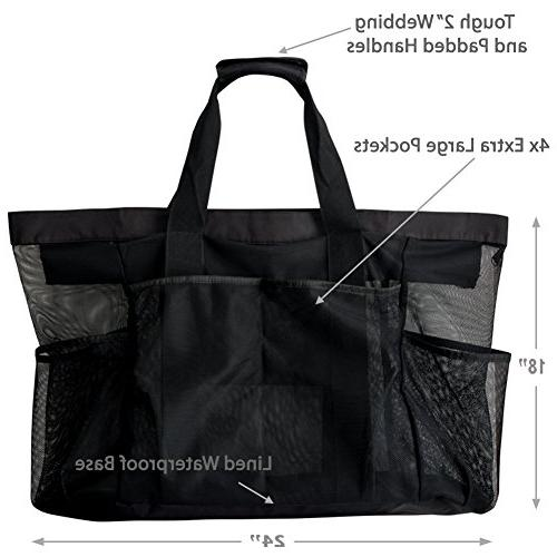 Extra Bags XXL Mesh Tote Bag with Pockets & Heavy Lightweight Foldable Tote for Perfect items