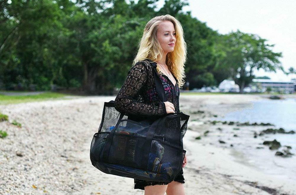 Beach Mesh Tote Bags Heavy Duty Pockets Duffel Bag