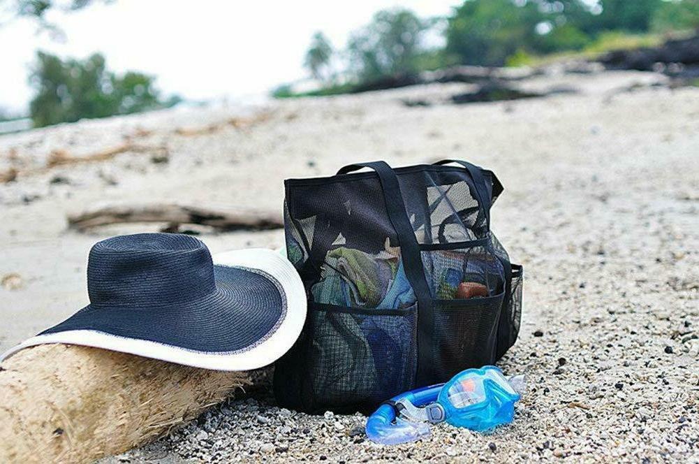 Beach Mesh Tote Heavy Duty Pockets Travel Duffel Bag