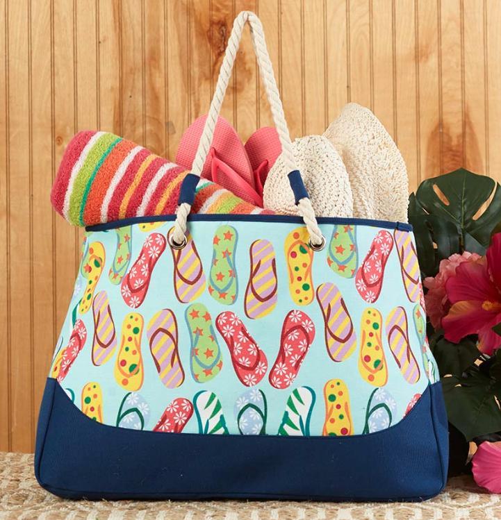 Beach Tote Bag Large Flip Flops Design Sewn