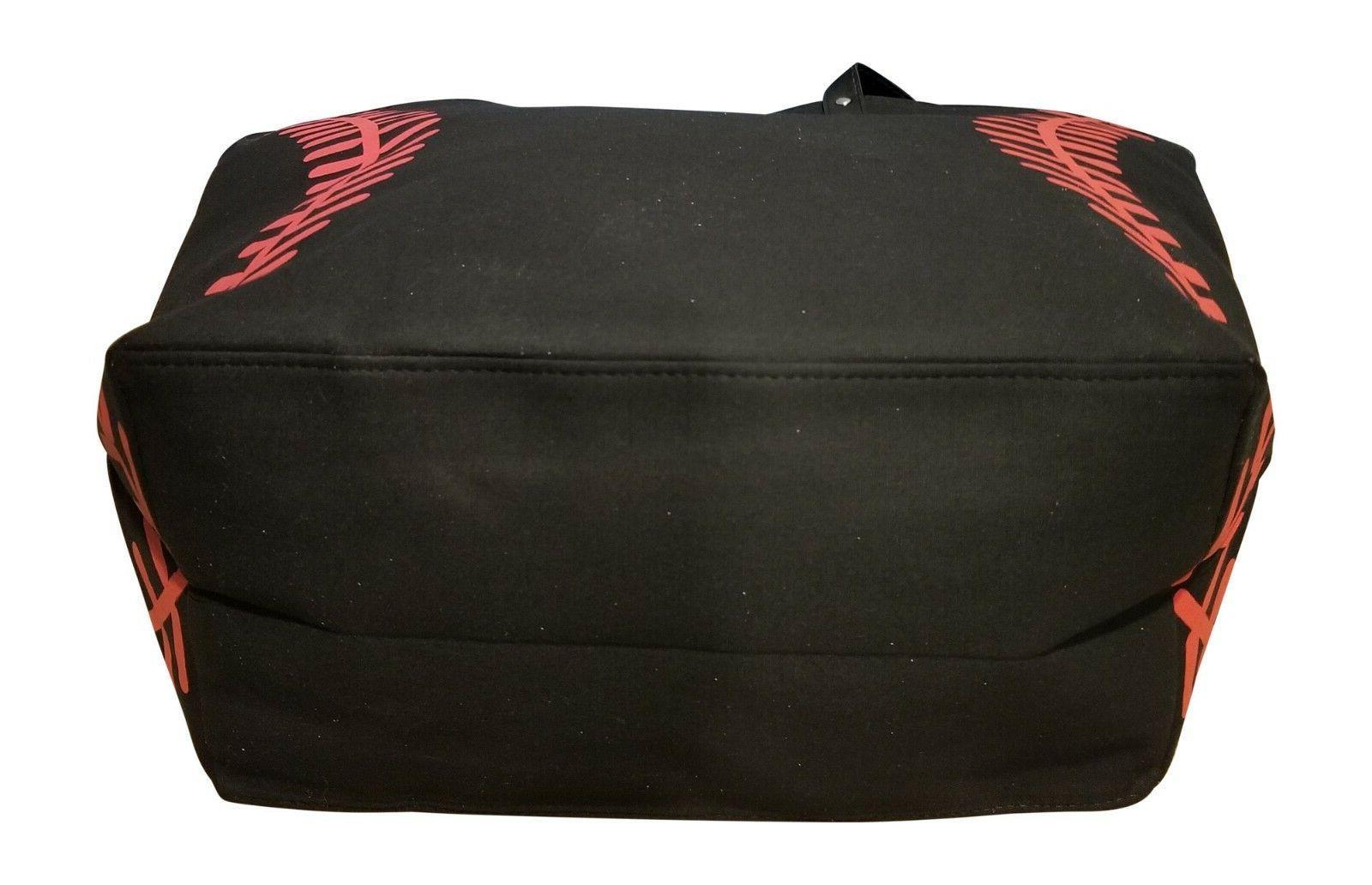 Black Baseball Seam Tote Bag w/ Large