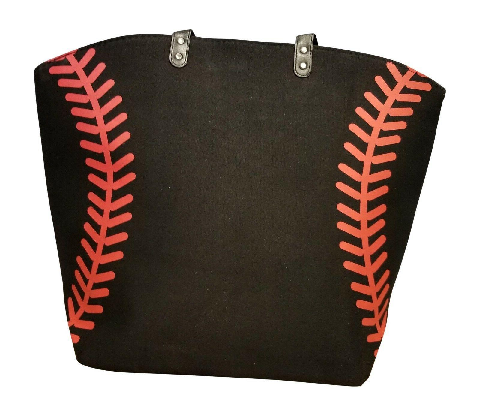 black baseball seam canvas tote bag purse