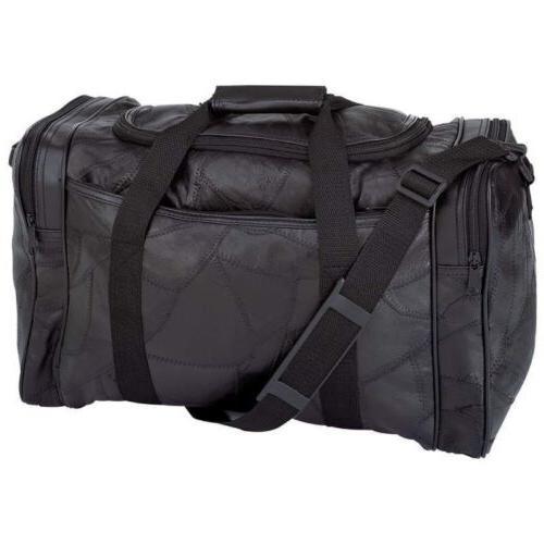 """17"""" BLACK LEATHER Sports Tote Bag Gym Carry On Shoulder Trav"""