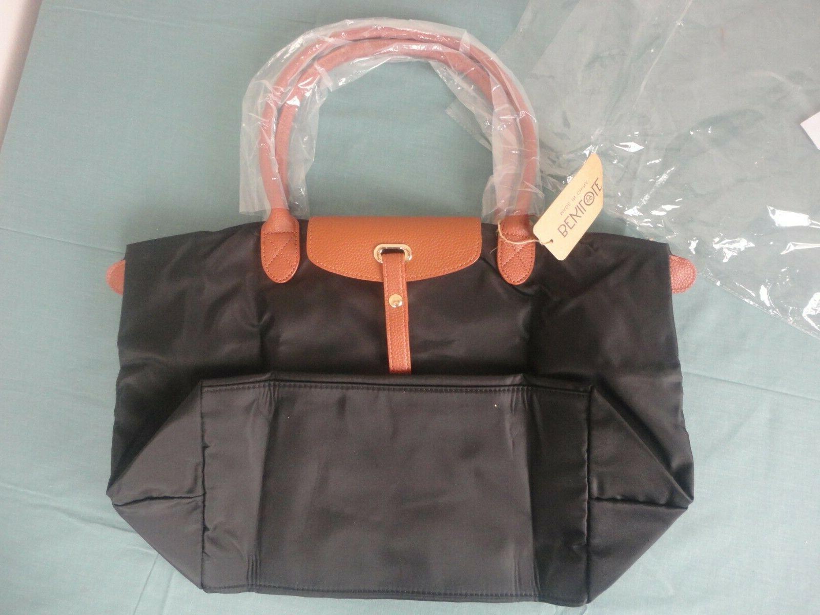 bnwt bekilole black faux leather foldable shoulder