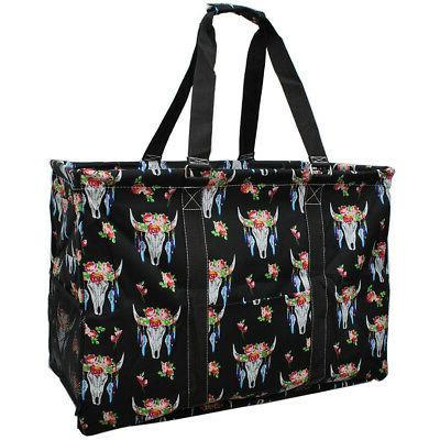 bull skull mega shopping utility tote bag