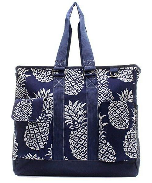 canvas pineapple summer zippered caddy organizer tote