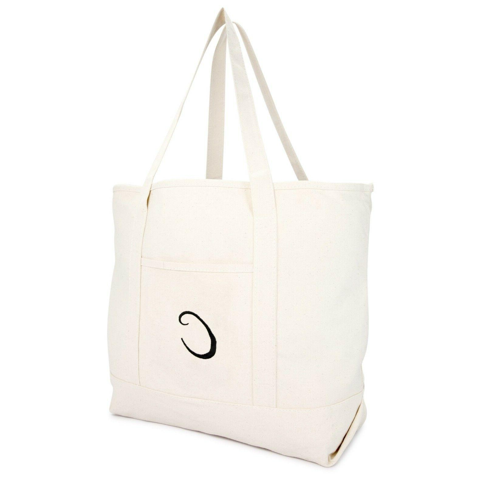 canvas tote bag monogrammed personalized gifts beige