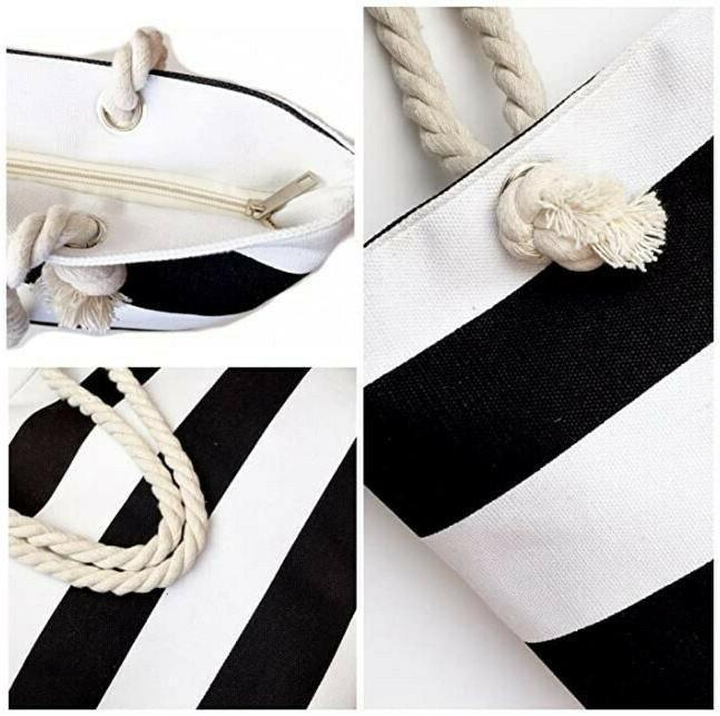 Canvas White & Black Striped Beach Tote Bag Purse & Rope Handle