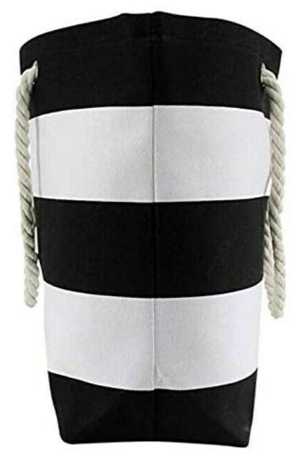 Canvas Black Striped Beach Tote Bag Purse & Handle