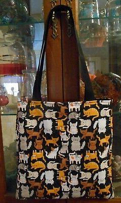Cartoon Cats Tote Bag Tabby Calico Gift Fun Book or Lunch Ba