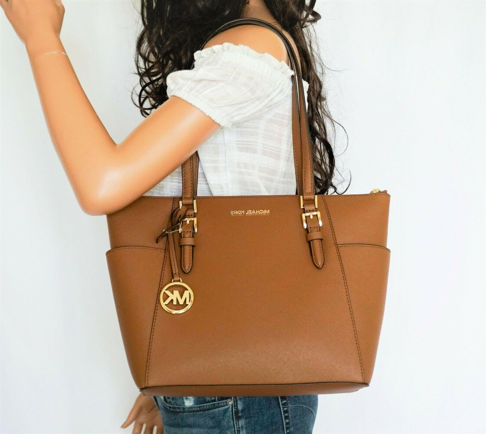 charlotte large top zip saffiano leather tote