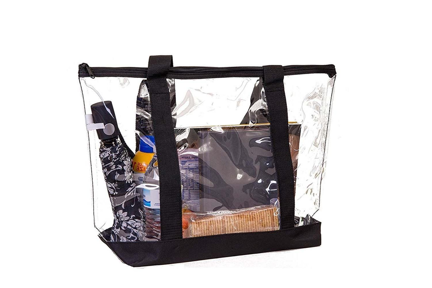 Large Clear Tote Strong Zippered Beach Shoulder