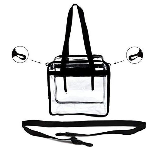 Youngever Clear Bag X X 6, Stadium Approved, Clear Bag, Heavy Duty, Straps Zippered and