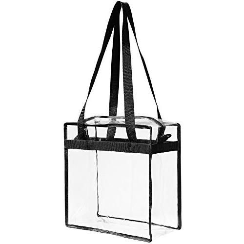 """Clear NFL PGA Approved The Clear Tote with Zipper Closure Perfect Games.Cross-Body w Strap X 12"""" 6"""""""