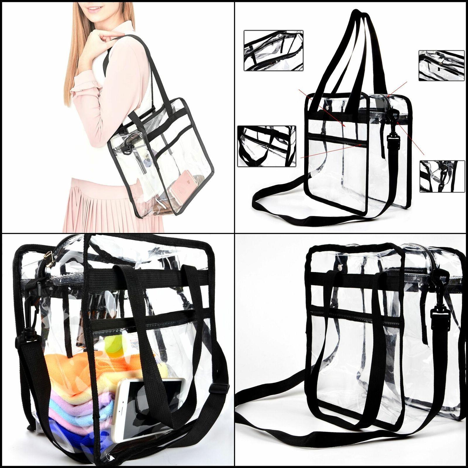 Clear Heavy Duty Plastic Tote Bag For Lunch School Work Gym