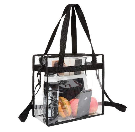 clear tote bag transparent zipper purse backpack