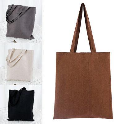 Solid Cotton Heavy Duty shoulder Canvas Tote Bag School Reus