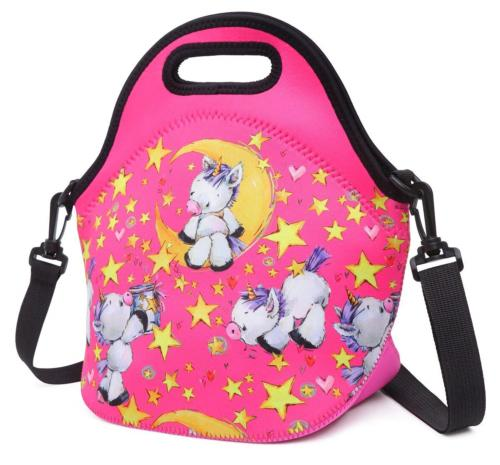 cute unicorn lunch bag with adjustable strap