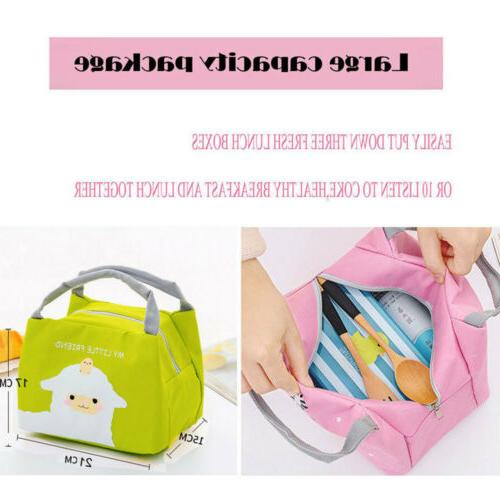 Cute Ladies Girls Kids Portable Insulated Lunch Bag Box Cooler