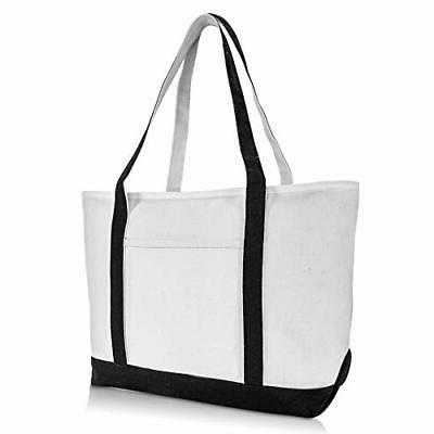 "DALIX 23"" Premium 24 oz. Cotton Canvas Shopping Tote Bag in"