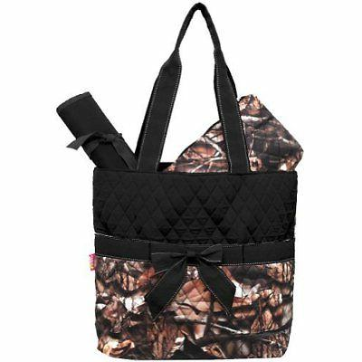 Design Camo Quilted 3pcs Diaper Bag-black