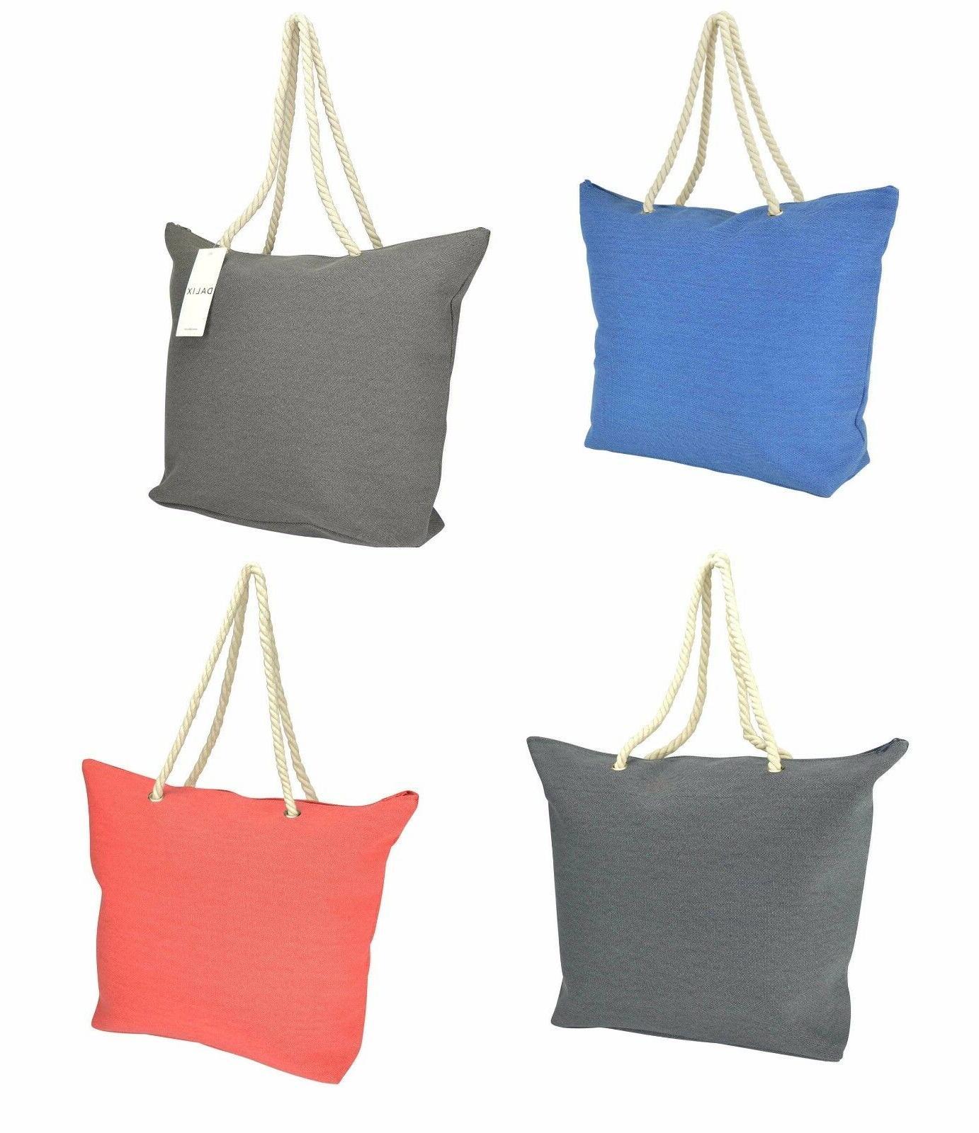 DALIX Elegant Woven Canvas Tote Bag w/ Rope Handle Gray Grey